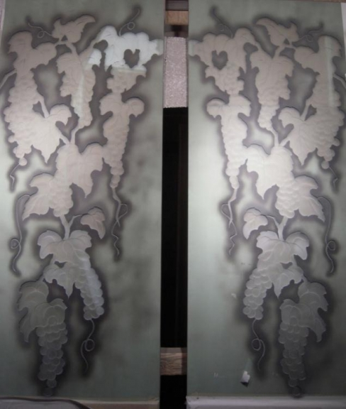 Sandcarved Wine Room Doors